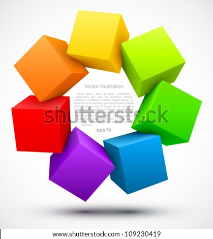 Colored cubes 3D.