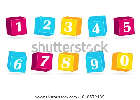 colored cubes with numbers 1 2