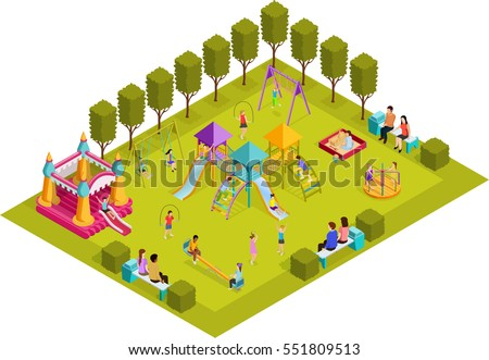 Colored 3d isometric kids playground with layout with placed in the park art objects and gaming complexes vector illustration