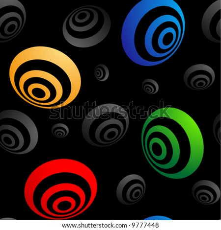 Colored 3D rings on black seamless vector wallpaper (pattern).