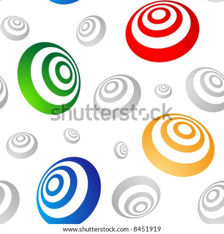 Colored 3D rings seamless vector wallpaper (pattern).