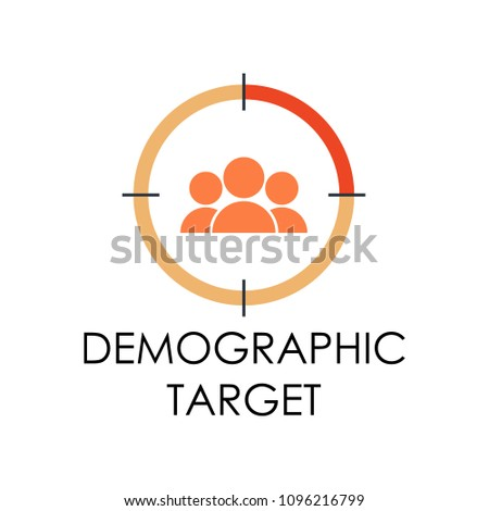 colored demographic target illustration. Element of marketing and business flat for mobile concept and web apps. Isolated demographic target flat can be used for web and mobile on white background