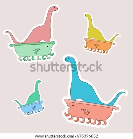 colored dinosaur in the bathtub