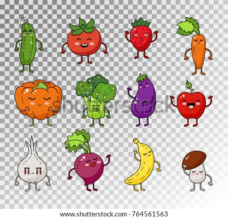colored doodle set of fruits