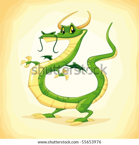 Colored dragon. Funny cartoon and vector illustration. - stock vector