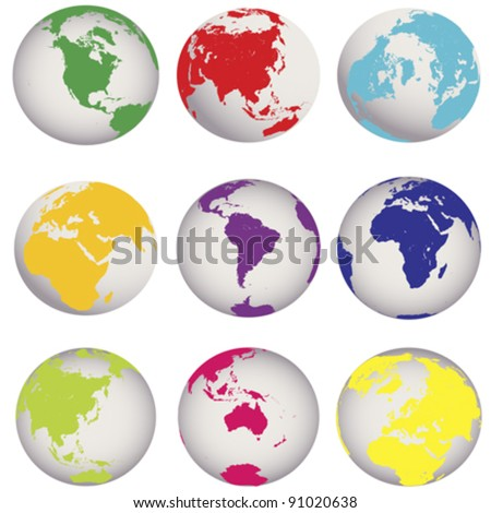 Colored Earth globes