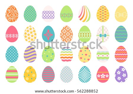 Colored Easter Eggs Or Color Ostern Egg Icons With Decoration Patterns Vector Illustration