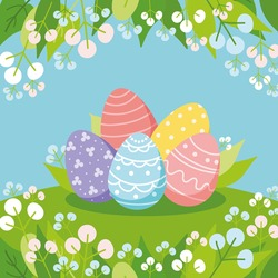 Colored eggs on a meadow. Floral square frame. Festive composition for Easter card, banner, add , invitation and other design. Flat vector illustration.
