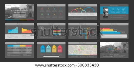 Colored elements abstract templates. Dark grey presentation templates. Use in presentation, flyer, corporate report, marketing, advertising.