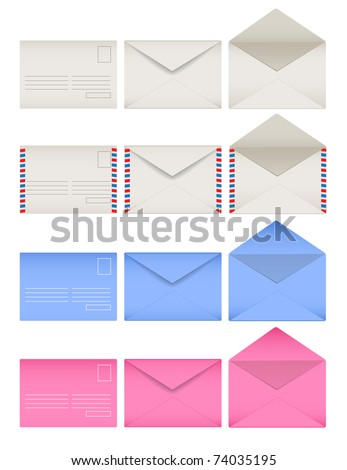 Colored envelopes set. Front and back sides. Open and closed