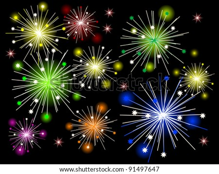 Colored fireworks against black background
