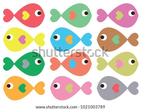 Colored Fish Vectors on White Background Stok fotoğraf ©