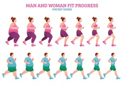 Colored fitness stages composition with man and woman fit progress description isolated icon set vector illustration