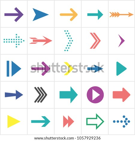 Colored flat arrows. Collection of next icons. Vector illustration