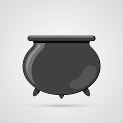 Colored flat icon, vector design with shadow. Cartoon witches cauldron for illustration of magic, witchcraft, boiling potions. Symbol of Halloween.