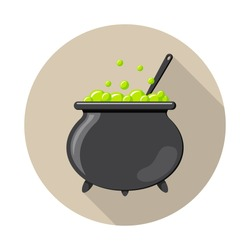 Colored flat round icon, vector design with shadow. Cartoon witches cauldron with potion, bubbles and spoon for illustration of magic, witchcraft, boiling potions. Symbol of Halloween.
