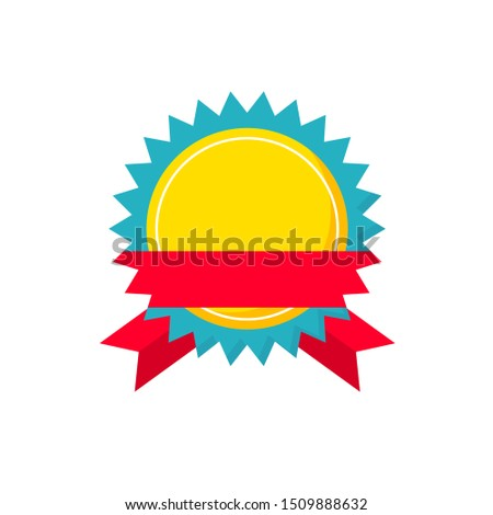 Colored flat vector.  Badges and emblems. Round gold emblem with red ribbon.