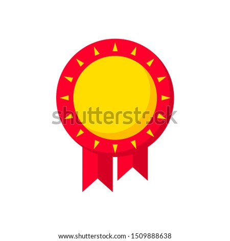 Colored flat vector.  Badges and emblems. Round red emblem with ribbons.