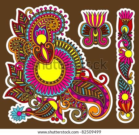 colored floral ornamental decoration design element. Ukrainian traditional style.