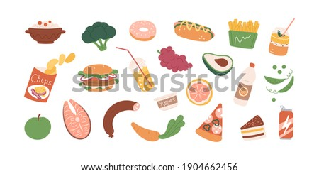 Colored food icons of healthy and fast food - vegetables, drinks, snacks, fruits, avocado, chips, burger, fries and cake. Set of groceries isolated on white background. Flat vector illustration
