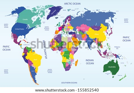 colored geopolitical world map