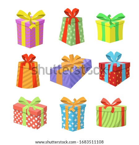 Colored Gift Boxes with Ribbon. Holiday gift box. Vector illustration