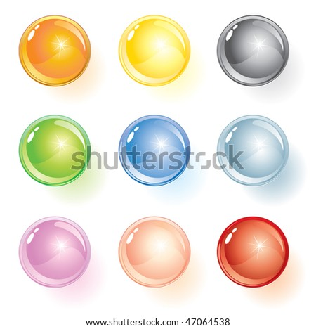 Colored glass vector glossy  buttons/spheres