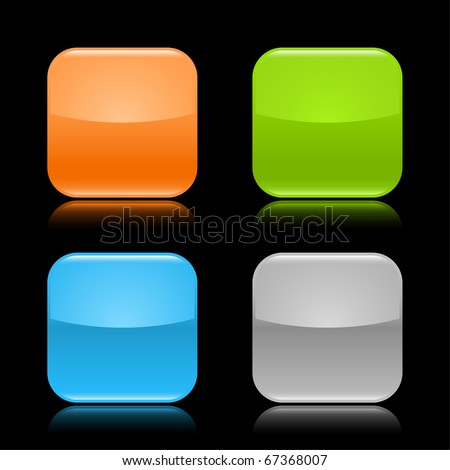 Colored glassy blank web 2.0 button. Rounded square shapes with reflection on black background