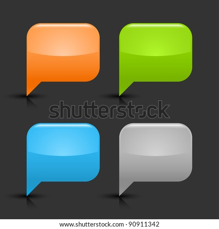 Colored glossy blank speech bubble icon web 2.0 button with black shadow and gray reflection on gray background. This vector illustration created and saved in 8 eps