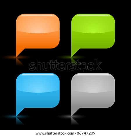 Colored glossy blank speech bubble icon web 2.0 button with gray shadow and reflection on black background