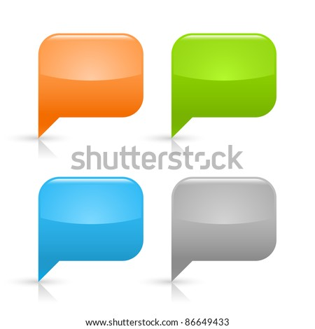 Colored glossy blank speech bubble icon web 2.0 button with gray shadow and reflection on white background