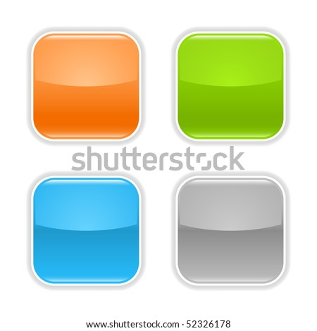 Colored glossy blank web button with shadow on white