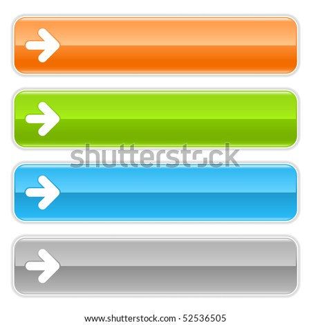 Colored glossy long web buttons bar with arrow sign on white
