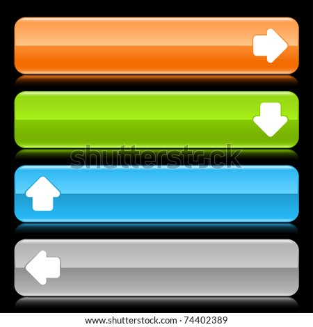 Colored glossy rounded rectangle web bar with arrow sign with color reflection on black background
