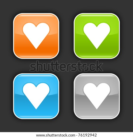 Colored glossy rounded square buttons with heart sign with shadow on gray. 10 eps