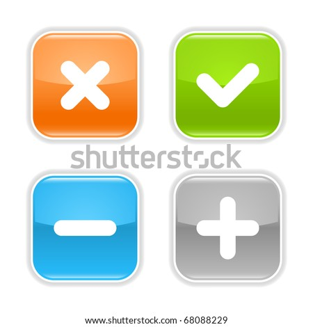 Colored glossy rounded square buttons with validation sign with drop shadow on white