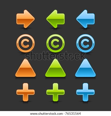 Colored glossy web 2.0 button arrow, copyright, triangle label and plus icons with black shadow and dark reflection on gray background