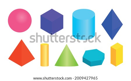 Colored gradient volumetric geometric shapes. Different simple basic 3d figure. Isometric views sphere, cube, cylinder, hexagonal prism and other regular forms. Isolated on white vector illustration Foto stock ©
