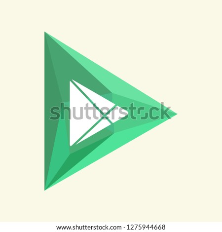 Colored green crystal in the form of a play button isolated on a white background. Play icon. Polygonal icon. Web design. Vector illustration