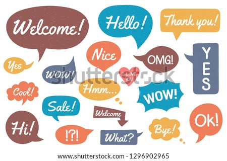 Colored hand drawn speech bubbles with different phrases, vector eps10 illustration