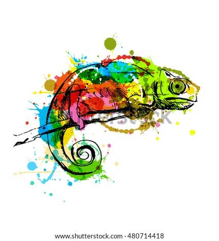 colored hand sketch chameleon