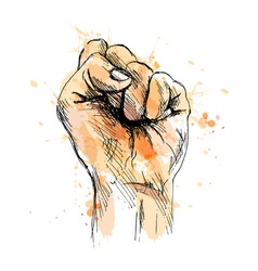 Colored hand sketch raised his clenched hand. Vector illustration