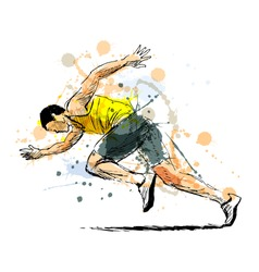Colored hand sketch running man. Vector illustration