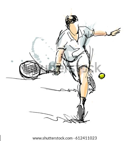 colored hand sketch tennis