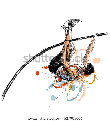 Colored hand sketch vaulter. Vector illustration
