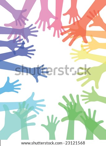 colored hands border with lens effect, for use with type