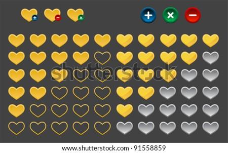 Colored heart favorite button, vector