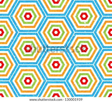 Colored hexagon seamless pattern background
