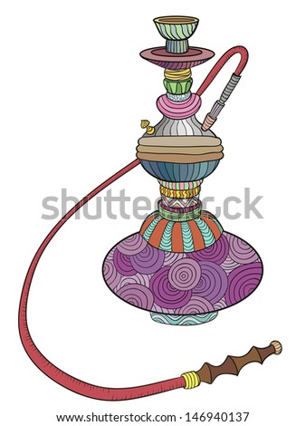Colored hookah with patterns. Doodle. vector illustration