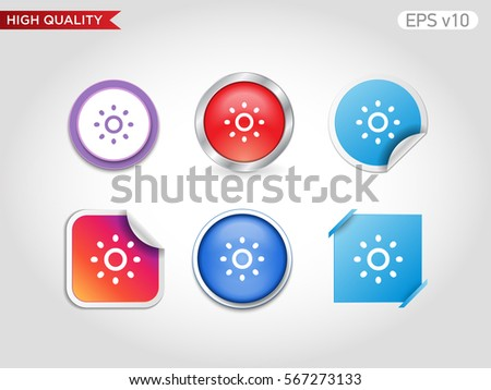 Colored icon or button of brightness symbol with background